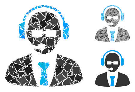 Support manager composition of raggy pieces in various sizes and color hues, based on support manager icon. Vector raggy pieces are combined into collage. Stok Fotoğraf - 131885398