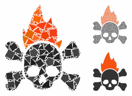 Hellfire mosaic of inequal pieces in variable sizes and color tinges, based on hellfire icon. Vector trembly pieces are organized into mosaic. Hellfire icons collage with dotted pattern. Illusztráció