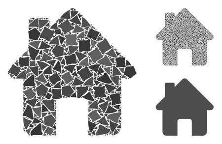 Home composition of inequal pieces in various sizes and color hues, based on home icon. Vector ragged items are united into composition. Home icons collage with dotted pattern.
