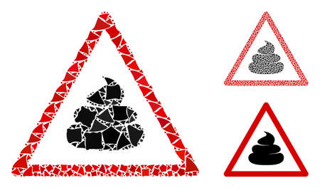 Shit warning composition of tuberous pieces in various sizes and shades, based on shit warning icon. Vector ragged pieces are composed into collage. Shit warning icons collage with dotted pattern. Illustration