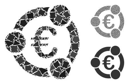 Euro collaboration composition of abrupt elements in various sizes and color tones, based on Euro collaboration icon. Vector humpy dots are organized into composition. Ilustração