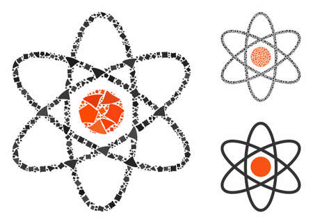Atom composition of tuberous items in various sizes and color tinges, based on atom icon. Vector tuberous items are combined into composition. Atom icons collage with dotted pattern.