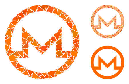 Monero symbol mosaic of rough parts in different sizes and color hues, based on Monero symbol icon. Vector rough dots are combined into collage. Monero symbol icons collage with dotted pattern.