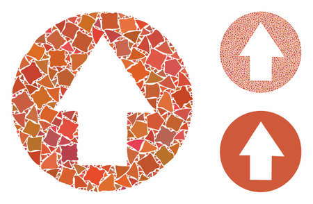 Up direction mosaic of unequal parts in different sizes and shades, based on up direction icon. Vector tuberous parts are organized into collage. Up direction icons collage with dotted pattern. 일러스트
