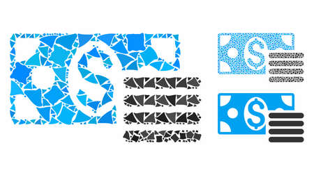 Dollar cash composition of tremulant items in different sizes and shades, based on dollar cash icon. Vector trembly items are united into illustration. Dollar cash icons collage with dotted pattern.