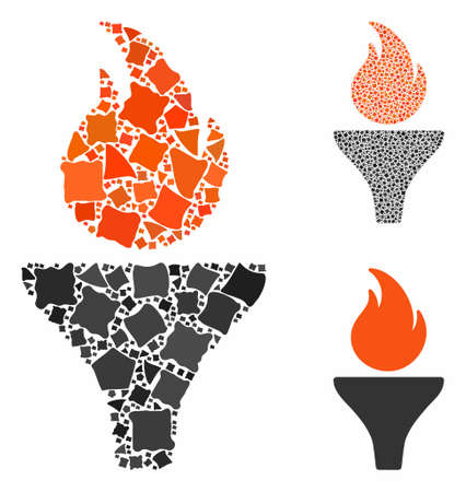 Fire torch composition of rugged pieces in different sizes and shades, based on fire torch icon. Vector unequal pieces are combined into composition. Fire torch icons collage with dotted pattern.