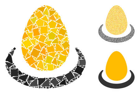 Gold egg deposit composition of abrupt items in various sizes and color tints, based on gold egg deposit icon. Vector joggly items are combined into collage. Ilustração