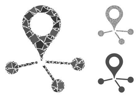 Location links composition of humpy items in different sizes and color tones, based on location links icon. Vector abrupt items are grouped into composition.