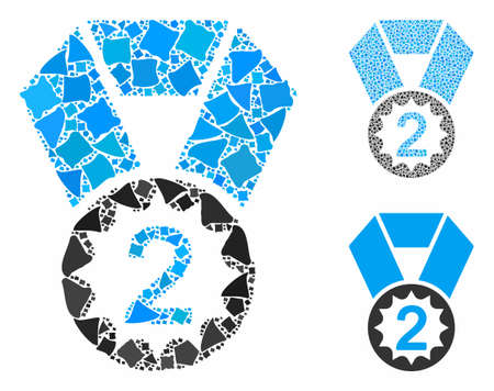 Second place composition of irregular pieces in variable sizes and color tints, based on second place icon. Vector irregular items are grouped into collage. Ilustrace