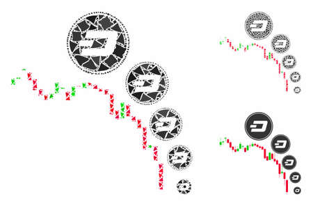 Candlestick chart Dashcoin deflation mosaic of humpy parts in variable sizes and color tones, based on candlestick chart Dashcoin deflation icon. Vector tremulant parts are grouped into mosaic.