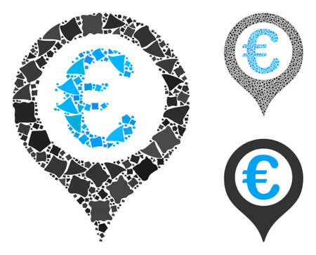 Euro geo targeting mosaic of parts in various sizes and shades, based on Euro geo targeting icon. Vector dots are grouped into collage. Euro geo targeting icons collage with dotted pattern.