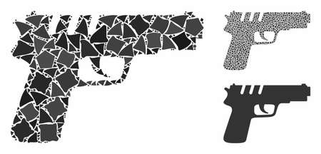 Pistol gun composition of raggy pieces in various sizes and color tints, based on pistol gun icon. Vector uneven pieces are united into composition. Pistol gun icons collage with dotted pattern.