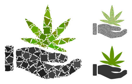 Cannabis offer palm mosaic of unequal pieces in variable sizes and color tints, based on cannabis offer palm icon. Vector trembly pieces are organized into collage. 向量圖像