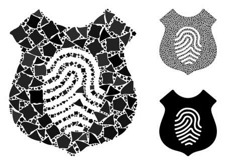 Fingerprint shield mosaic of trembly items in variable sizes and color hues, based on fingerprint shield icon. Vector abrupt items are united into composition.