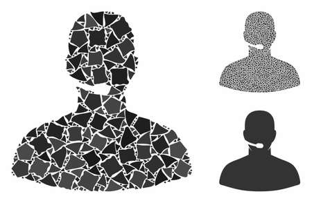 Call center operator composition of joggly pieces in various sizes and color tones, based on call center operator icon. Vector tuberous dots are combined into collage. Stok Fotoğraf - 131894017