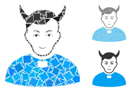 Devil priest composition of ragged parts in various sizes and color tinges, based on devil priest icon. Vector irregular dots are organized into composition.