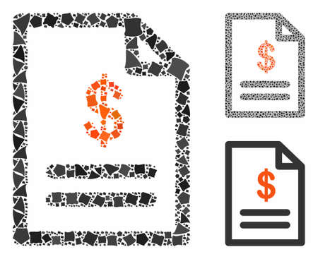 Invoice mosaic of abrupt items in various sizes and color tones, based on invoice icon. Vector trembly items are composed into mosaic. Invoice icons collage with dotted pattern.