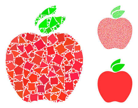 Apple mosaic of uneven items in variable sizes and color hues, based on apple icon. Vector uneven items are composed into collage. Apple icons collage with dotted pattern.