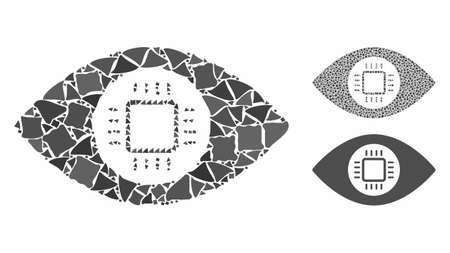 Eye lens processor mosaic of irregular elements in different sizes and color tints, based on eye lens processor icon. Vector trembly elements are composed into collage. Иллюстрация
