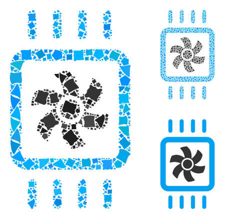 Chip cooling mosaic of rough pieces in variable sizes and color tones, based on chip cooling icon. Vector trembly pieces are united into mosaic. Chip cooling icons collage with dotted pattern.