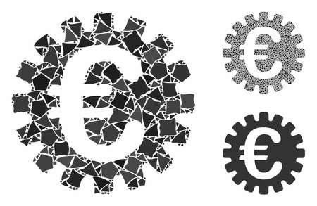 Euro cog composition of humpy parts in various sizes and shades, based on Euro cog icon. Vector humpy parts are organized into illustration. Euro cog icons collage with dotted pattern.
