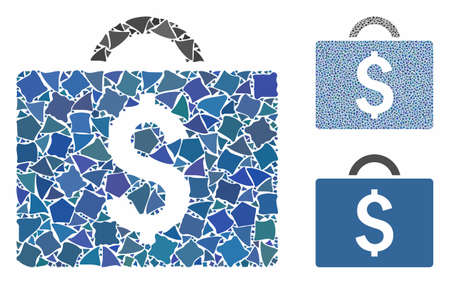 Commercial briefcase mosaic of trembly items in various sizes and shades, based on commercial briefcase icon. Vector uneven items are combined into collage.