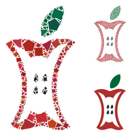 Apple stump composition of raggy pieces in various sizes and color tones, based on apple stump icon. Vector irregular pieces are organized into collage. Apple stump icons collage with dotted pattern.
