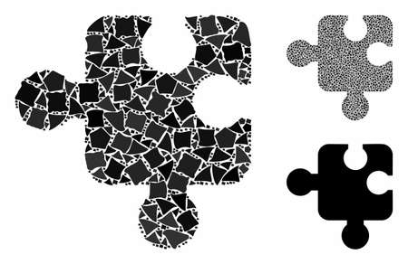 Component composition of raggy pieces in different sizes and color tones, based on component icon. Vector uneven pieces are grouped into mosaic. Component icons collage with dotted pattern.