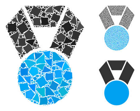 Medal mosaic of rough items in various sizes and color tones, based on medal icon. Vector rough parts are composed into mosaic. Medal icons collage with dotted pattern. Ilustrace