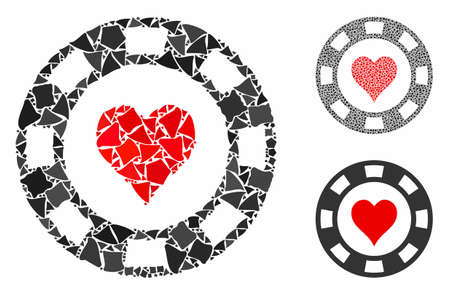 Heart casino chip mosaic of uneven elements in different sizes and color tones, based on heart casino chip icon. Vector uneven elements are combined into illustration.