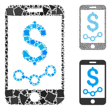 Mobile sales report mosaic of ragged pieces in various sizes and shades, based on mobile sales report icon. Vector irregular pieces are composed into collage.
