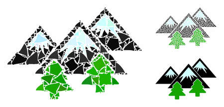 Mountains forest mosaic of humpy parts in various sizes and color tinges, based on mountains forest icon. Vector ragged parts are united into mosaic.