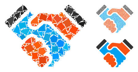 Handshake composition of irregular parts in variable sizes and color tinges, based on handshake icon. Vector ragged parts are composed into illustration. Handshake icons collage with dotted pattern.