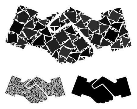 Handshake mosaic of trembly parts in variable sizes and color tints, based on handshake icon. Vector raggy parts are combined into mosaic. Handshake icons collage with dotted pattern.