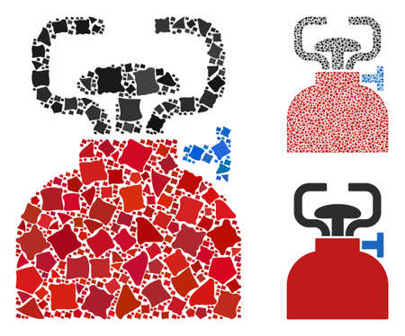 Burner mosaic of bumpy elements in different sizes and color tinges, based on burner icon. Vector bumpy dots are combined into mosaic. Burner icons collage with dotted pattern.