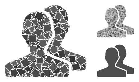 Customers mosaic of abrupt parts in variable sizes and color tints, based on customers icon. Vector trembly parts are combined into mosaic. Customers icons collage with dotted pattern.