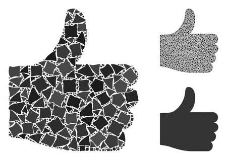 Thumb up mosaic of humpy items in different sizes and shades, based on thumb up icon. Vector inequal elements are united into collage. Thumb up icons collage with dotted pattern.