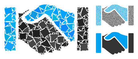 Acquisition handshake mosaic of tremulant items in different sizes and color tones, based on acquisition handshake icon. Vector joggly items are organized into mosaic.