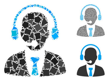 Call center mosaic of raggy parts in variable sizes and color tones, based on call center icon. Vector raggy parts are grouped into mosaic. Call center icons collage with dotted pattern.