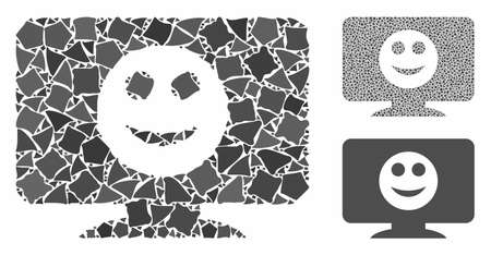 Display smile mosaic of tuberous pieces in different sizes and shades, based on display smile icon. Vector joggly items are grouped into mosaic. Display smile icons collage with dotted pattern.