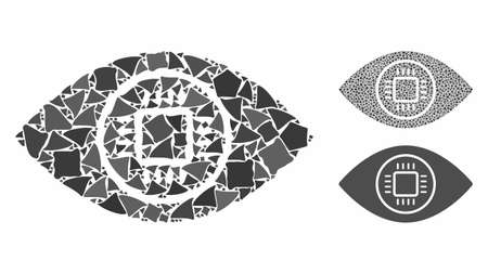 Cyborg eye mosaic of ragged elements in different sizes and shades, based on cyborg eye icon. Vector ragged items are organized into composition. Cyborg eye icons collage with dotted pattern. Çizim