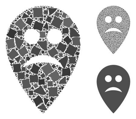Sad map marker mosaic of unequal parts in different sizes and shades, based on sad map marker icon. Vector joggly parts are combined into collage. Sad map marker icons collage with dotted pattern.
