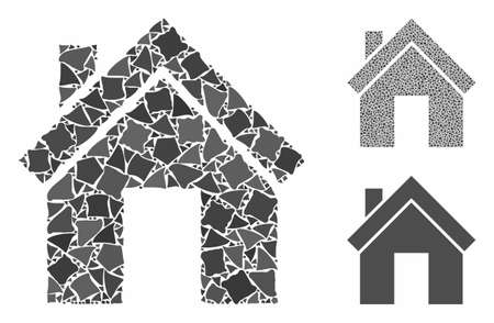 Home composition of uneven elements in different sizes and color tinges, based on home icon. Vector joggly dots are united into composition. Home icons collage with dotted pattern.