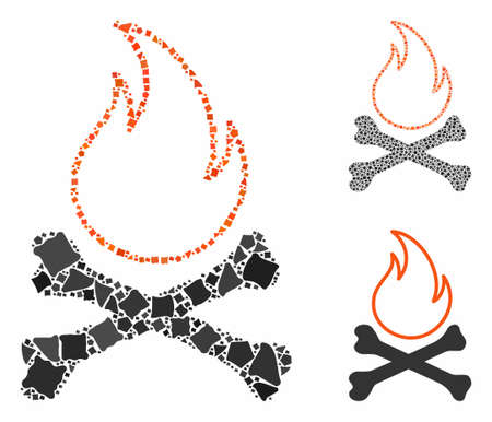 Bones hell fire composition of trembly elements in various sizes and shades, based on bones hell fire icon. Vector trembly parts are united into composition.