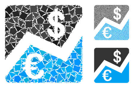 Euro and Dollar finance mosaic of bumpy pieces in various sizes and color hues, based on Euro and Dollar finance icon. Vector bumpy dots are combined into mosaic.