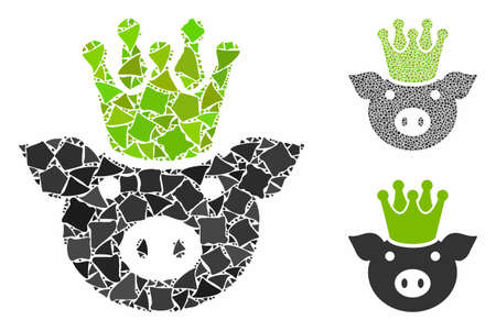 King pig composition of tremulant pieces in variable sizes and color tinges, based on king pig icon. Vector joggly pieces are united into collage. King pig icons collage with dotted pattern. Иллюстрация