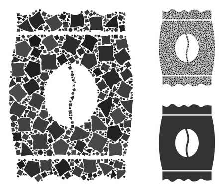 Coffee bean pack mosaic of unequal elements in variable sizes and color tints, based on coffee bean pack icon. Vector tremulant elements are united into collage. Ilustração