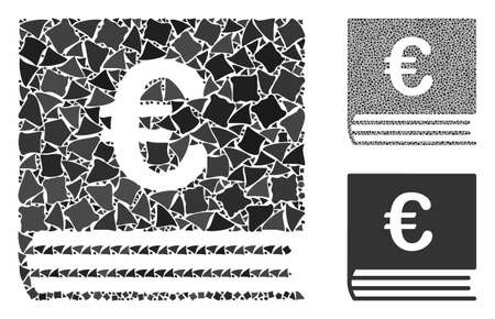 Euro bookkeeping book composition of rugged elements in different sizes and shades, based on Euro bookkeeping book icon. Vector uneven elements are combined into collage.