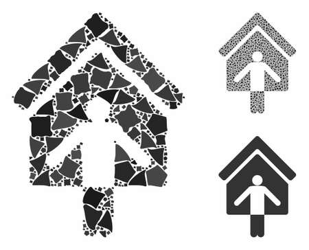 House owner wellcome composition of trembly pieces in variable sizes and color tinges, based on house owner wellcome icon. Vector tuberous items are composed into collage. Çizim