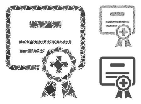 Certification composition of uneven parts in variable sizes and shades, based on certification icon. Vector rough parts are united into collage. Certification icons collage with dotted pattern.